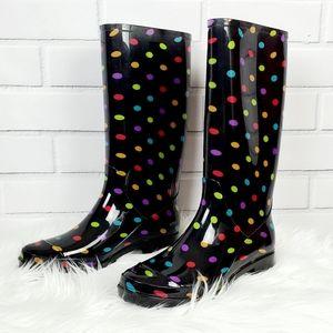 New Black Colorful Polka Dot Rain Boots Size 9